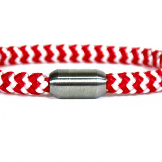 Finn - Hand spliced maritime bracelet made of sailing rope / boat cord - 6 mm,  red,  white