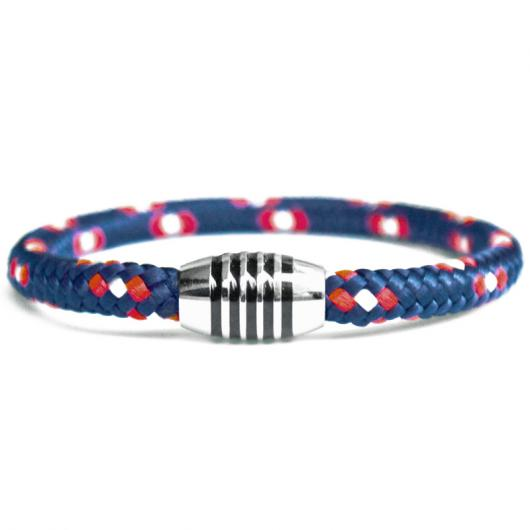 505er - Hand spliced bracelet made of sailing rope / boat cord - 6 mm, navy-blue,  red,  white