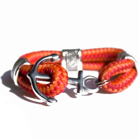 Star - Hand-rigged sailing rope / marine rope strap, 6 mm, orange / red