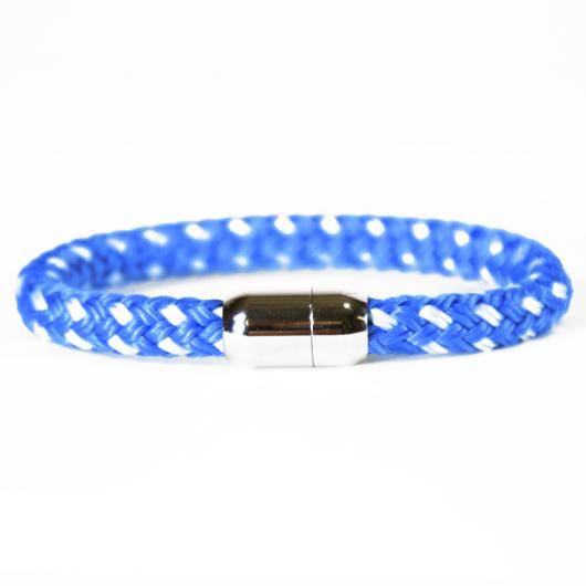 Flying Dutchman - Hand-rigged sailing rope / marine cord bracelet, 8 mm, marine-blue / white