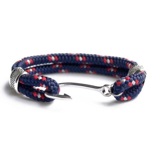Capt. Hook - Hand-rigged sailing rope / marine rope strap, 6 mm, blue / red / white - Kopie