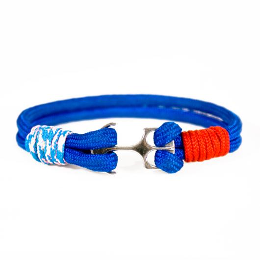 Korsar - Hand-rigged sailing rope/ marine cord bracelet, 6 mm, marine-blue / light blue pink / red