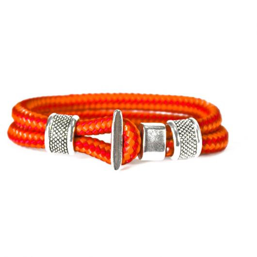 470er - Hand-rigged sailing rope / marine cord bracelet, 6 mm, red / orange