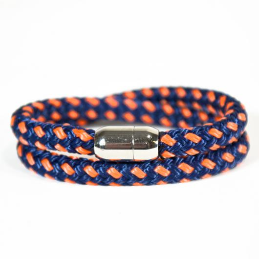 Pamir - Hand-rigged sailing rope/ marine cord bracelet, 8 mm, navi-blue / orange, Double