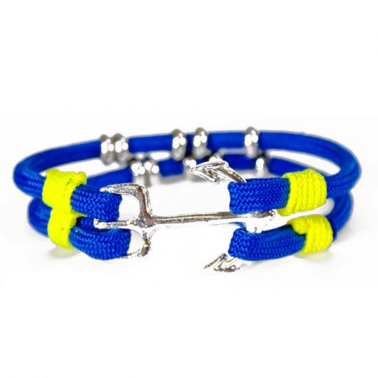 Rassmus - Hand-rigged sailing rope/ marine cord bracelet, 6 mm, marine-blue / neon-yellow