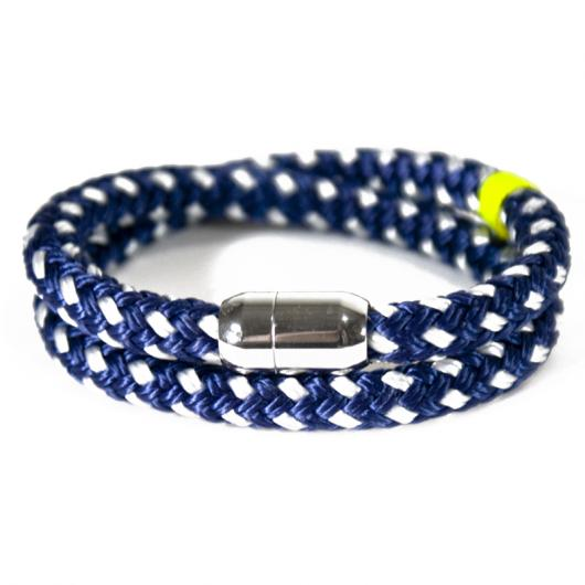 Sedov - Hand-rigged sailing rope/ marine cord bracelet, 8 mm, navi-blue / white / neon-yellow, Double