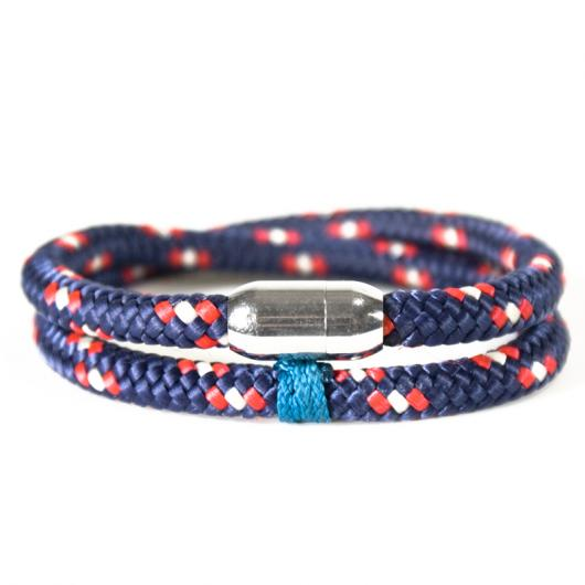 Sharpie - Hand-rigged sailing rope/ marine cord bracelet, 6 mm, blue / red / white, Double
