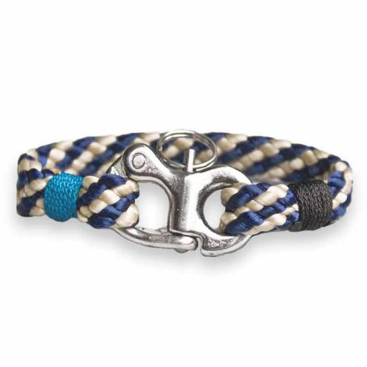 Clipper - maritime bracelet made of sailing rope, boat cord, 10 mm,  blue / beige