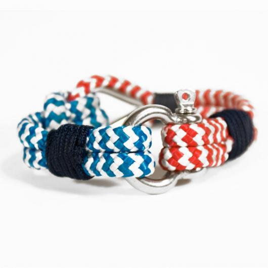 Vespucci - Hand-rigged sailing rope / marine rope strap, 6 mm, blue-white / red-white