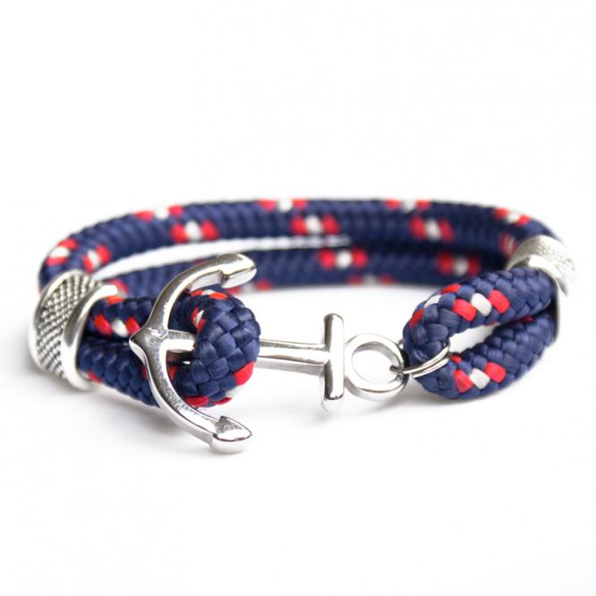 Tornado - Hand-rigged sailing rope , marine rope strap, 6 mm, blue, red , white
